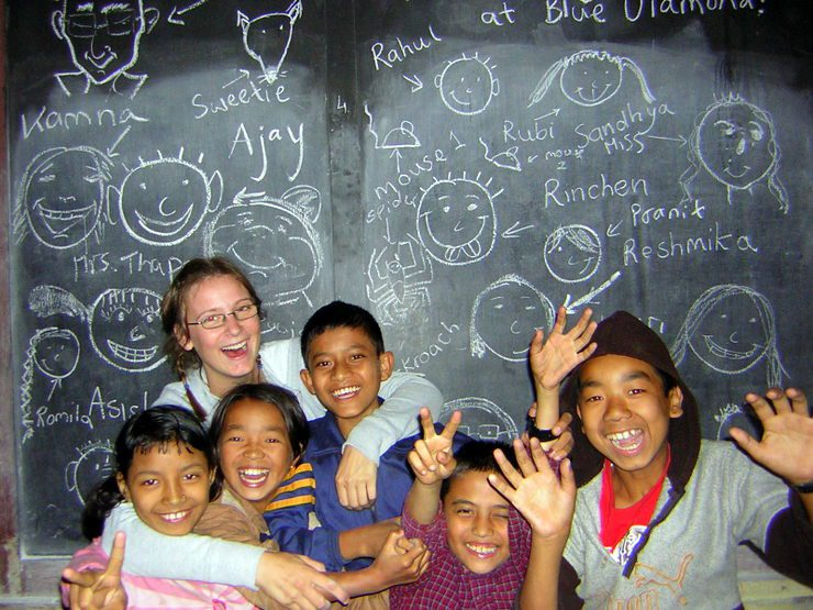 Abigail with some of her students while volunteer teaching in India.