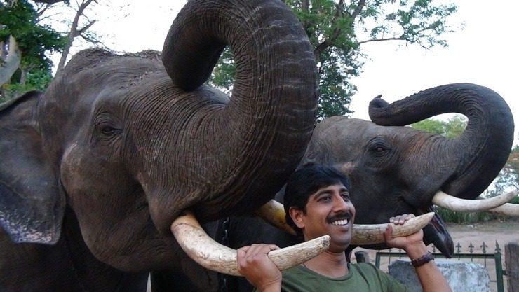 Bhaskar and elephant in India!