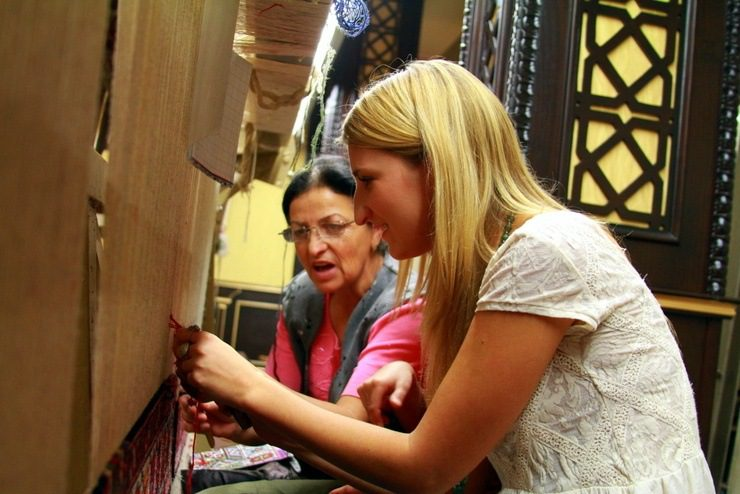 Learning how to weave carpets in Azerbaijan.