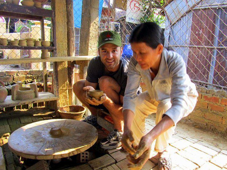 Cameron at a Vietnam Pottery Village.