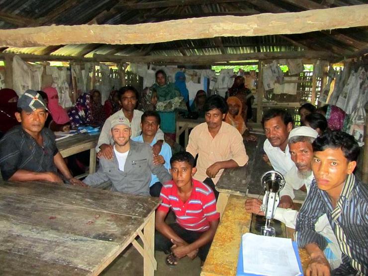 Cameron at a Bangladesh education shelter.