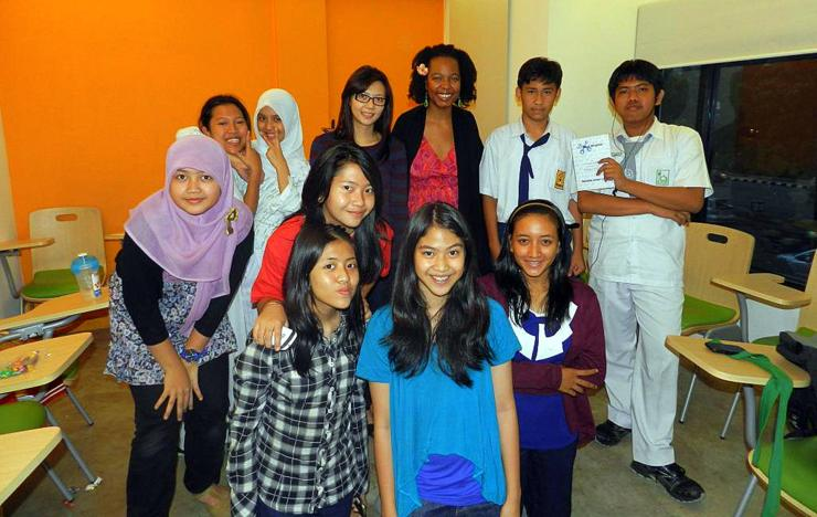 Robyn and some of her students Jakarta, Indonesia .