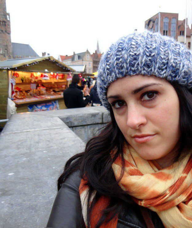 Maria in Brugges at the Christmas Market.