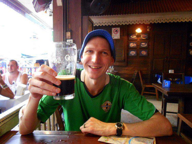 Jonny down the pub relaxing, having a beer!