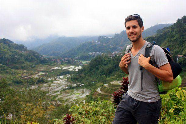 Ian trekking along Banaue rice terraces in Banaue, Philippines.