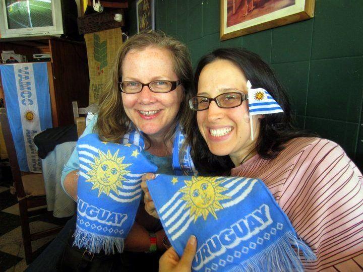 Making friends during teacher travel in Uruguay.