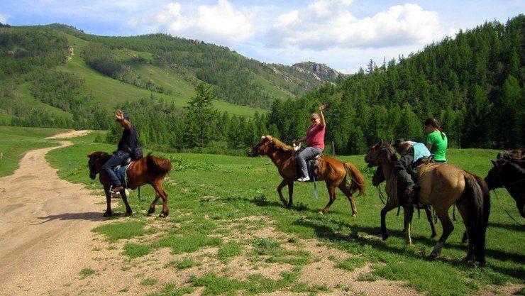 Libby on horseback.