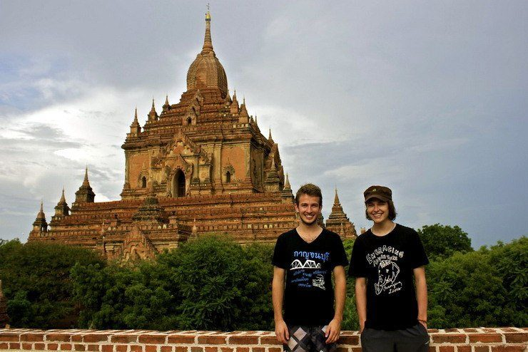 Liam (left) and Tyler (right) in the shadow of one of Bagan's bigger temples.