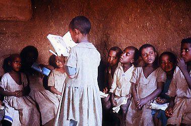 Schoolchildren in a classroom in Ethiopia.