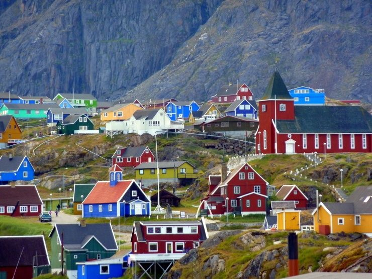 A colorful village in Greenland.