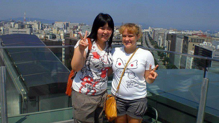 During Dana's stay in Japan, they were rewarded with a three-day family stay. This is her host sister, Akane and Dana in Fukuoka, Japan.