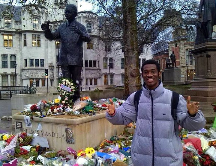 Celebrating Nelson Mandela at Parliament Square, London.
