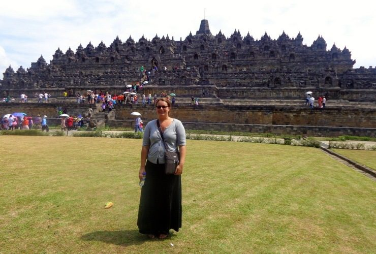 Karen in Borobudur, Indonesia, visiting the world's largest Buddhist temple in Central Java.