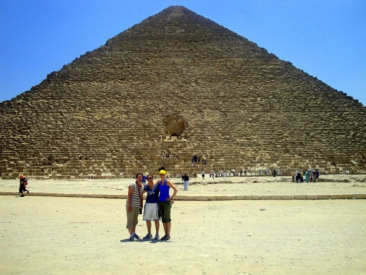 Cairo, Egypt: Upon ascending the steps inside the pyramid, all the power went out! After a very careful walk back down many steps, Karen was very relieved to have climbed back down to safety.