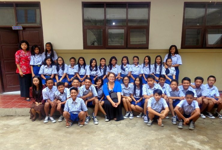 """Bandung, Indonesia: Karen has 40 new """"kids"""" in Indonesia. Her 6th grade class will maintain an old-fashioned pen pal letter exchange throughout the year."""