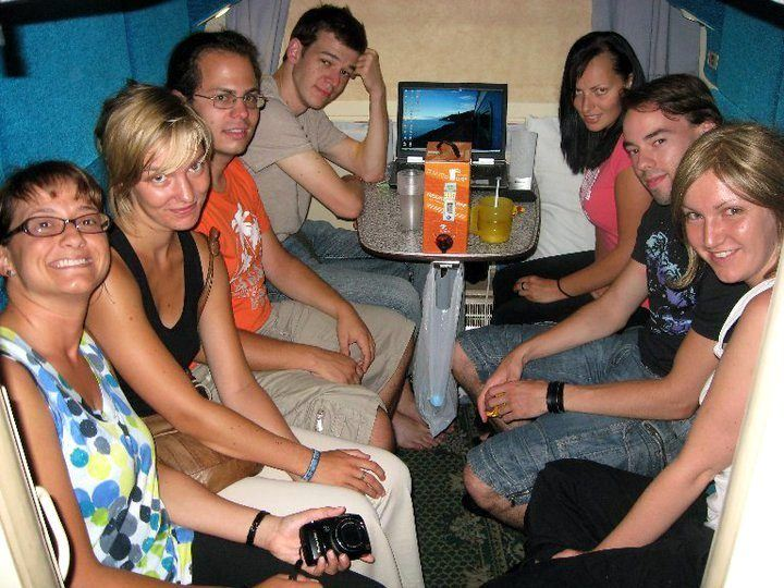 Traveling companions on the Trans-Siberian. (Nicole is in the polka dots.)