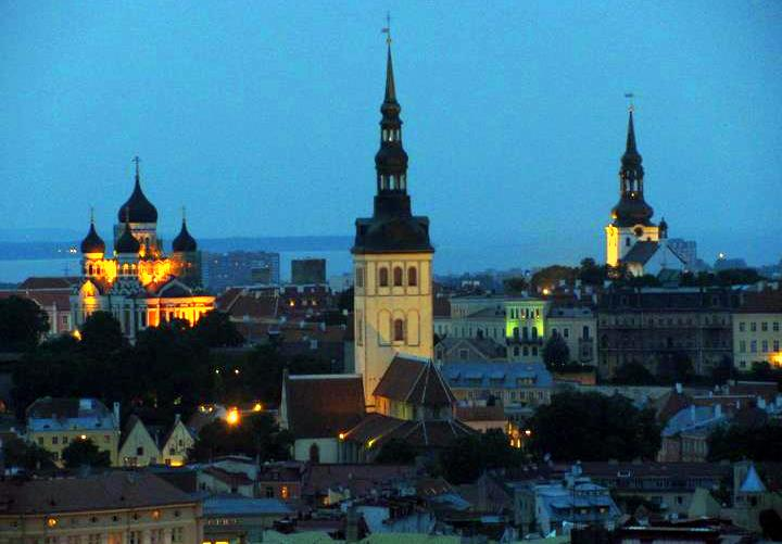 A night view of Tallinn's Old Town.