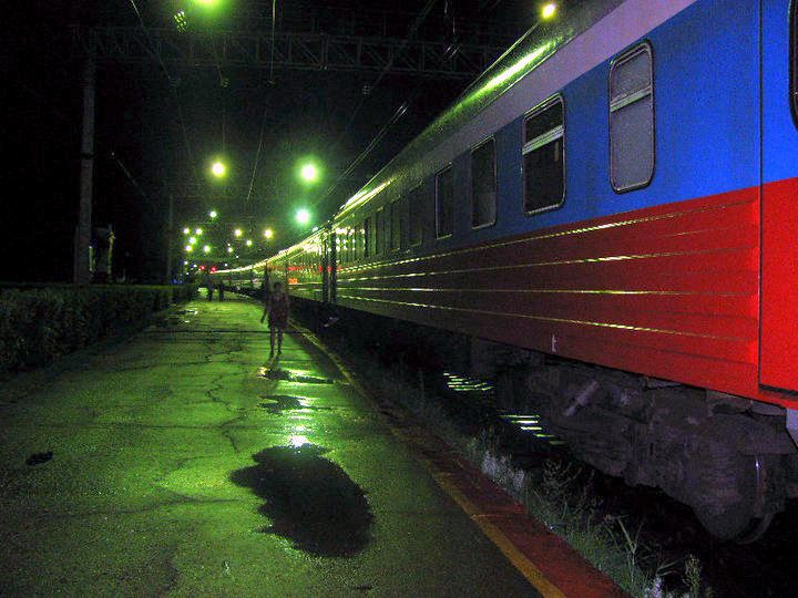 An evening view of the Trans-Siberian train.
