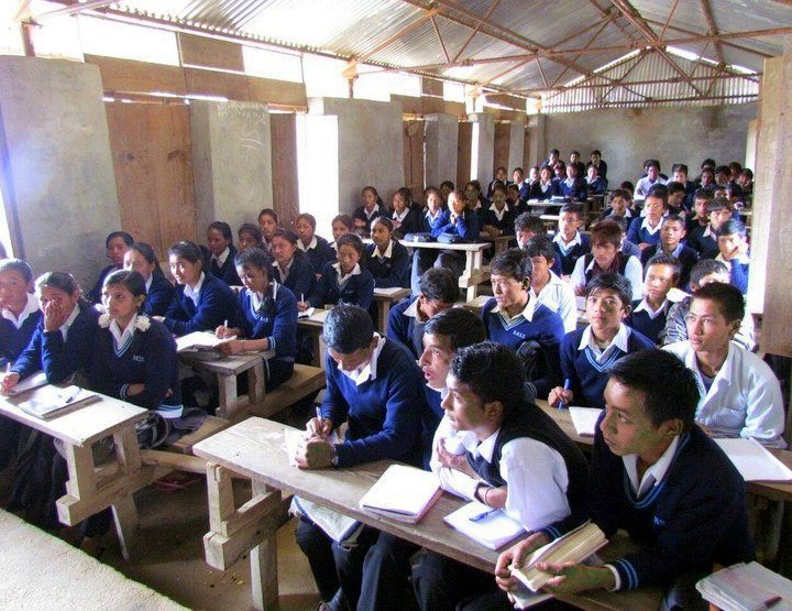 Theresa's view of a classroom in Nepal.