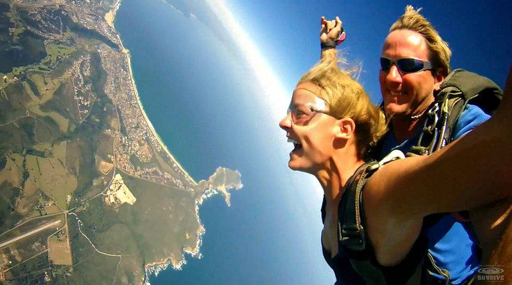 Skydiving in Plettenberg Bay, seconds after Haleigh jumped from the plane!