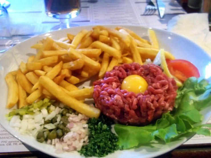 Nathan's raw egg meal in France. Yipes!