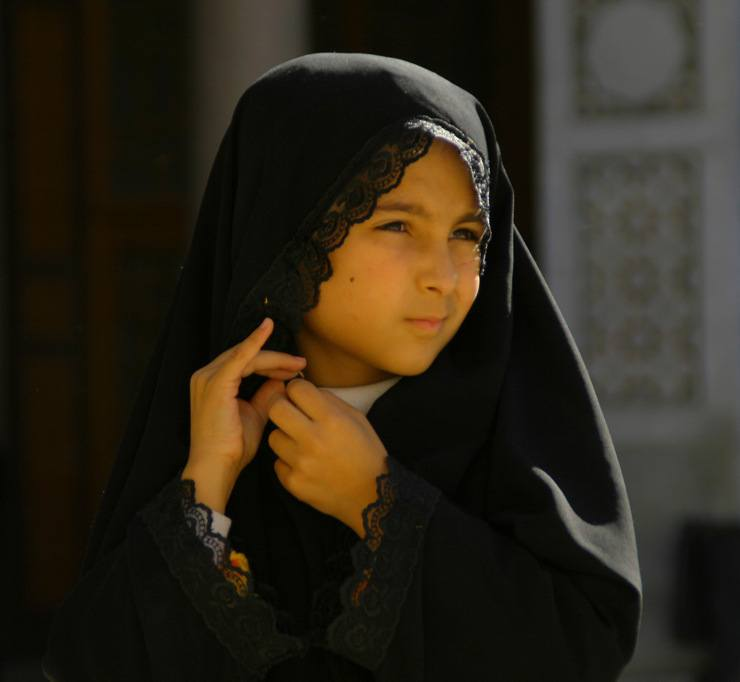 This young girl was photographed in Damascus outside the prominent Umayyad Mosque, one of Islam's holiest sites.