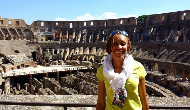 Fenesha in Rome, Italy at the Colosseum.