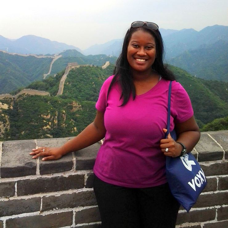 Candace smiling on the Great Wall. She was so happy to rest and take some pictures. Those steps and hills were STEEP!
