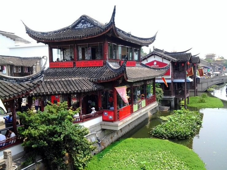 A beautiful teahouse in Qibao, Shanghai. The architecture made this photograph so striking!