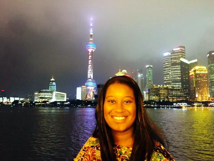On a great Huangpu River Cruise that Candace's friend Peiwen arranged for them. The Pearl TV Tower was every bit as amazing up close as Candace had imagined!