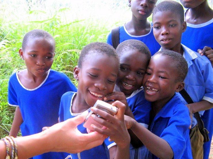 Interacting with school children in the Lake Volta region of Ghana.