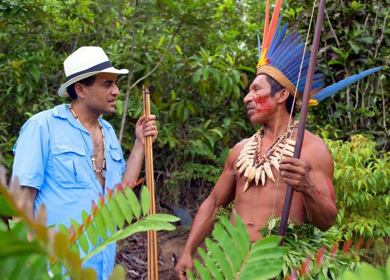 Mister Brazil with Chief Punol in the Amazon.