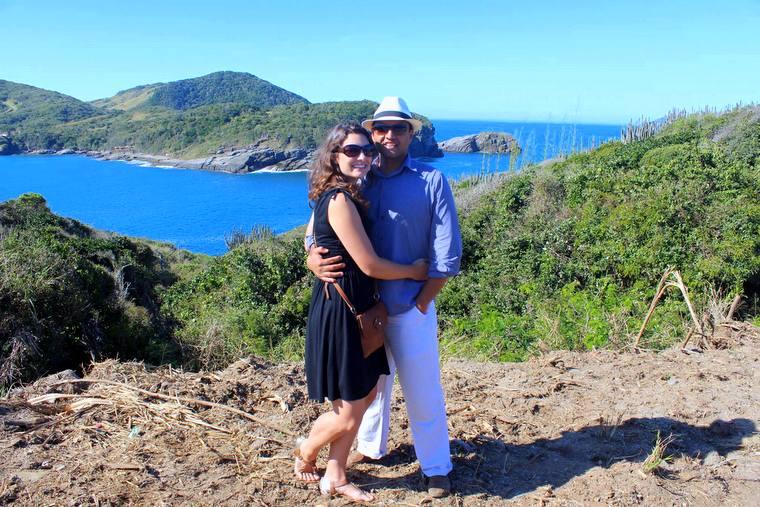 Mister Brazil with his wife, Tamara Willing Silva, in Buzios.