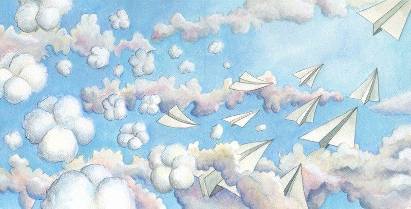 """An illustration from the book, """"Bessie, Queen of the Sky."""""""