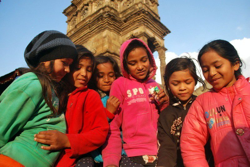 Andrea loved coloring with these sisters while traveling in Bhaktapur, Nepal.