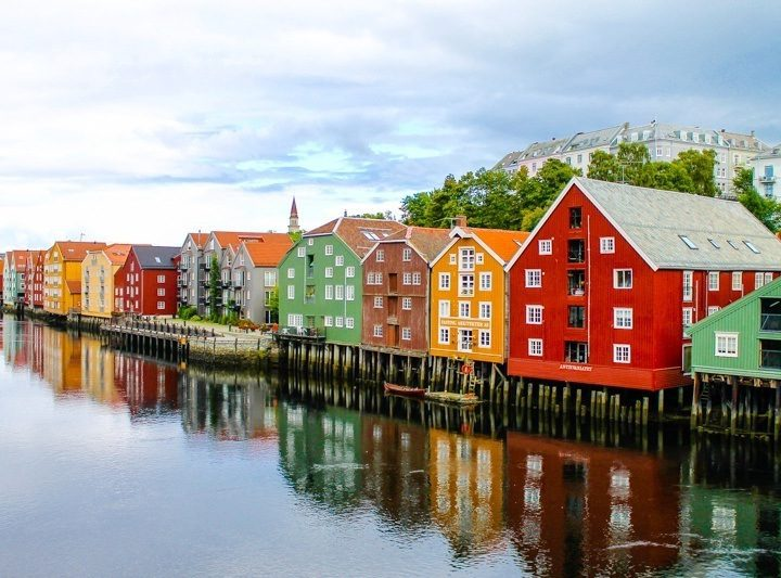 Colorful Trondheim, Norway.