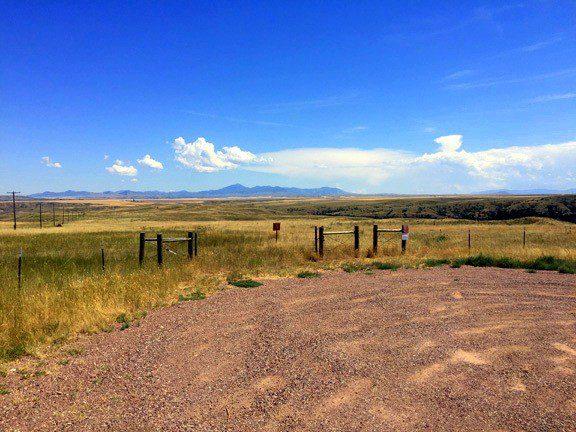 Driving across wheat fields in Montana.