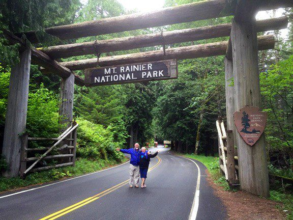 Bruce and Louise at the entrance of Mt. Rainier, Washington.