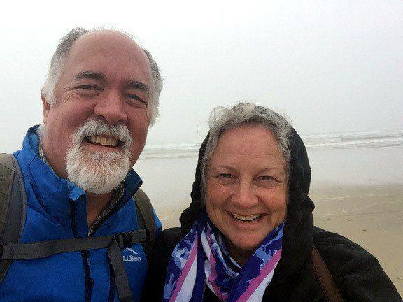 Bruce and Louise on a beach along the Oregon coast.