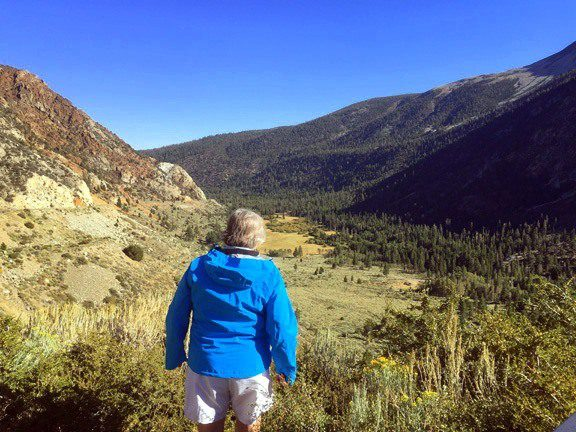Louise looking at mountains at Inyo National Forest.
