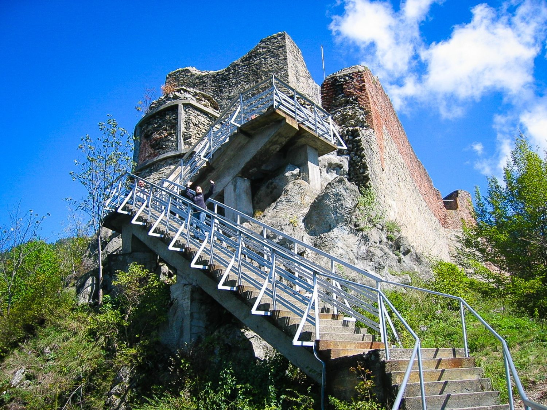 Approaching the ruins at Poinari Citadel: Dracula's stronghold.