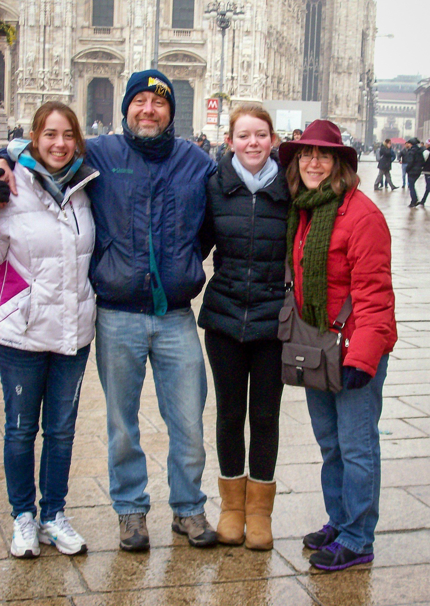Megan and her family at the Duomo (cathedral) in Milan, Italy.