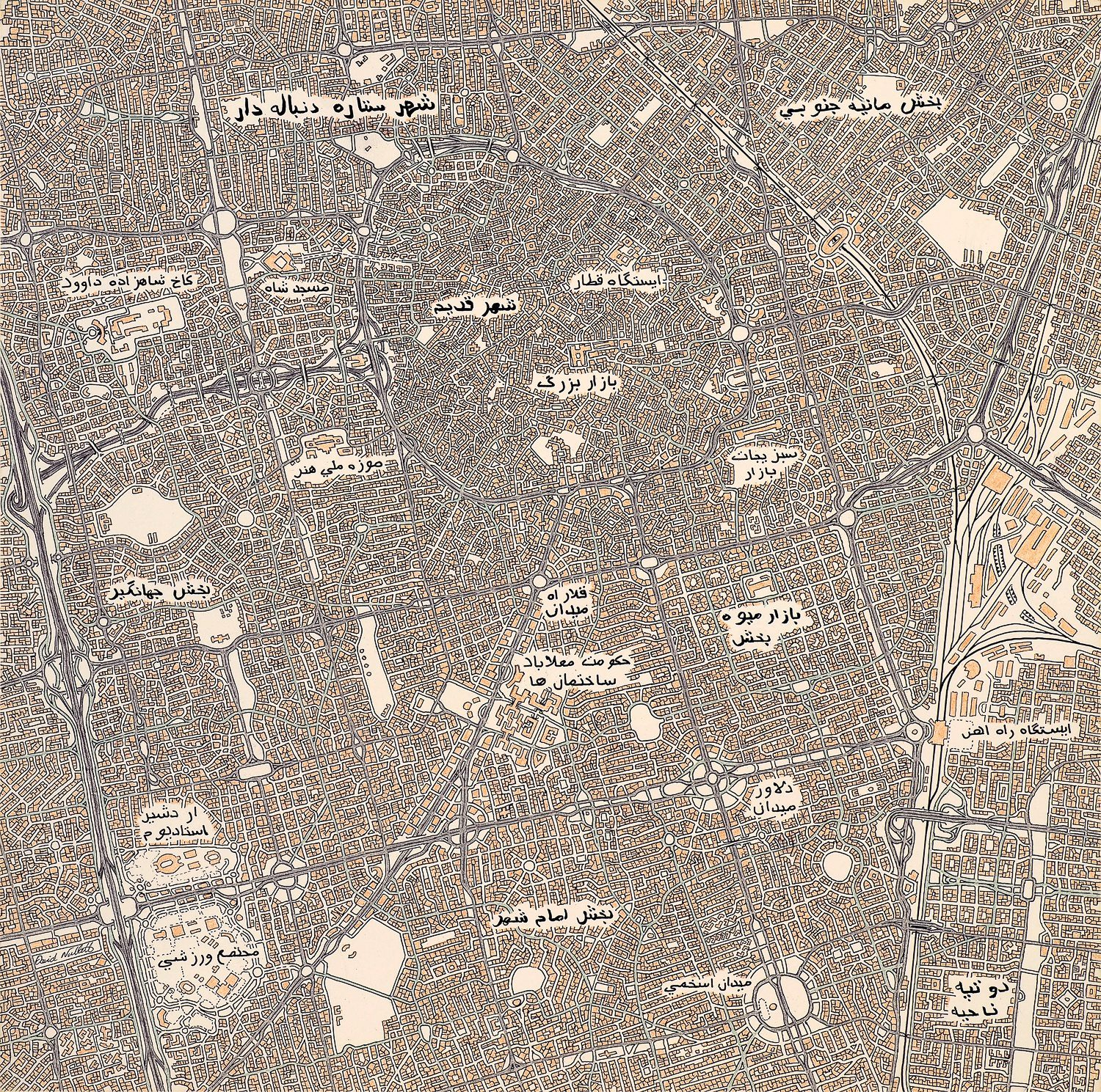City of Blazing Stars: The fictional map David made after talking with an artist in Iran.