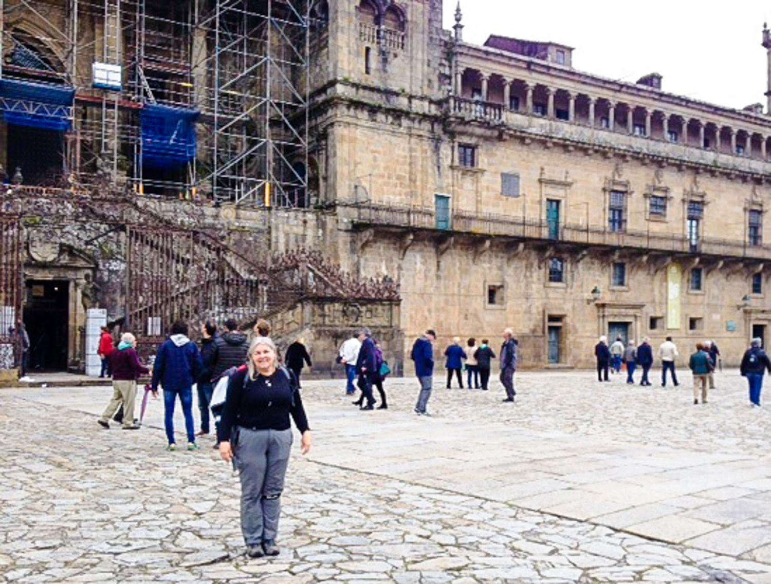 Finishing the 450 miles of the Camino, in Santiago de Compostela, Spain, May 2016.