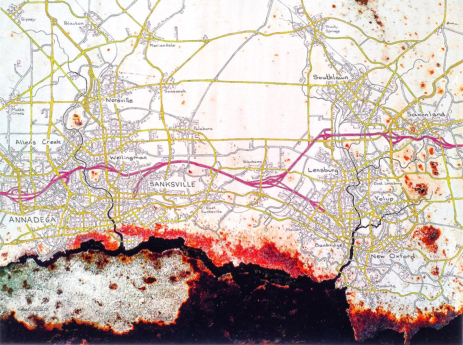 Sanksville and Annadega: Set on the Florida Panhandle - pen and coloured pencil on a photograph of part of Lowe Mill