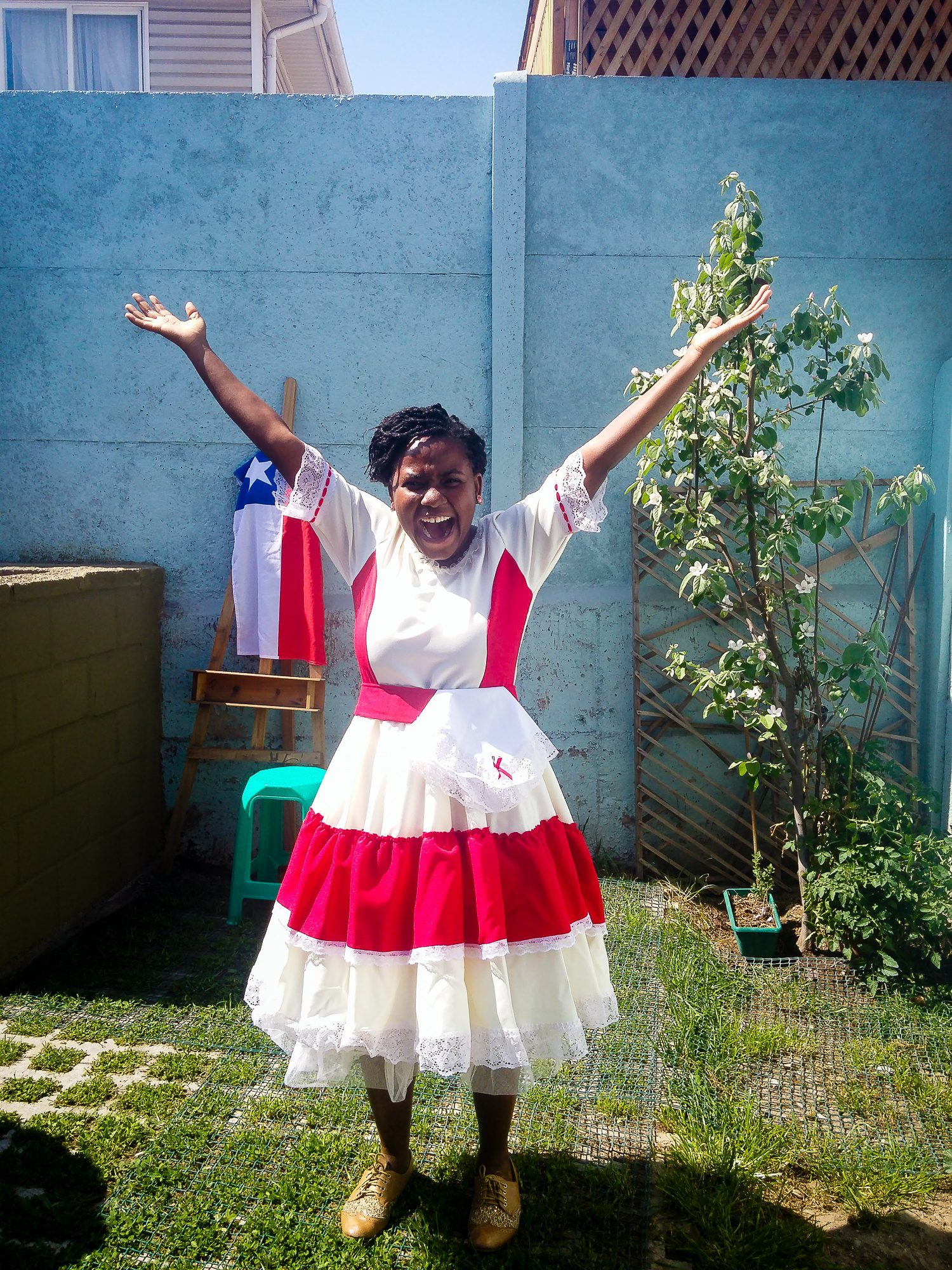 Celebrating Chile's Independence Day in September (in local dress of a Cueca dancer courtesy of Steph's host brother's wife).