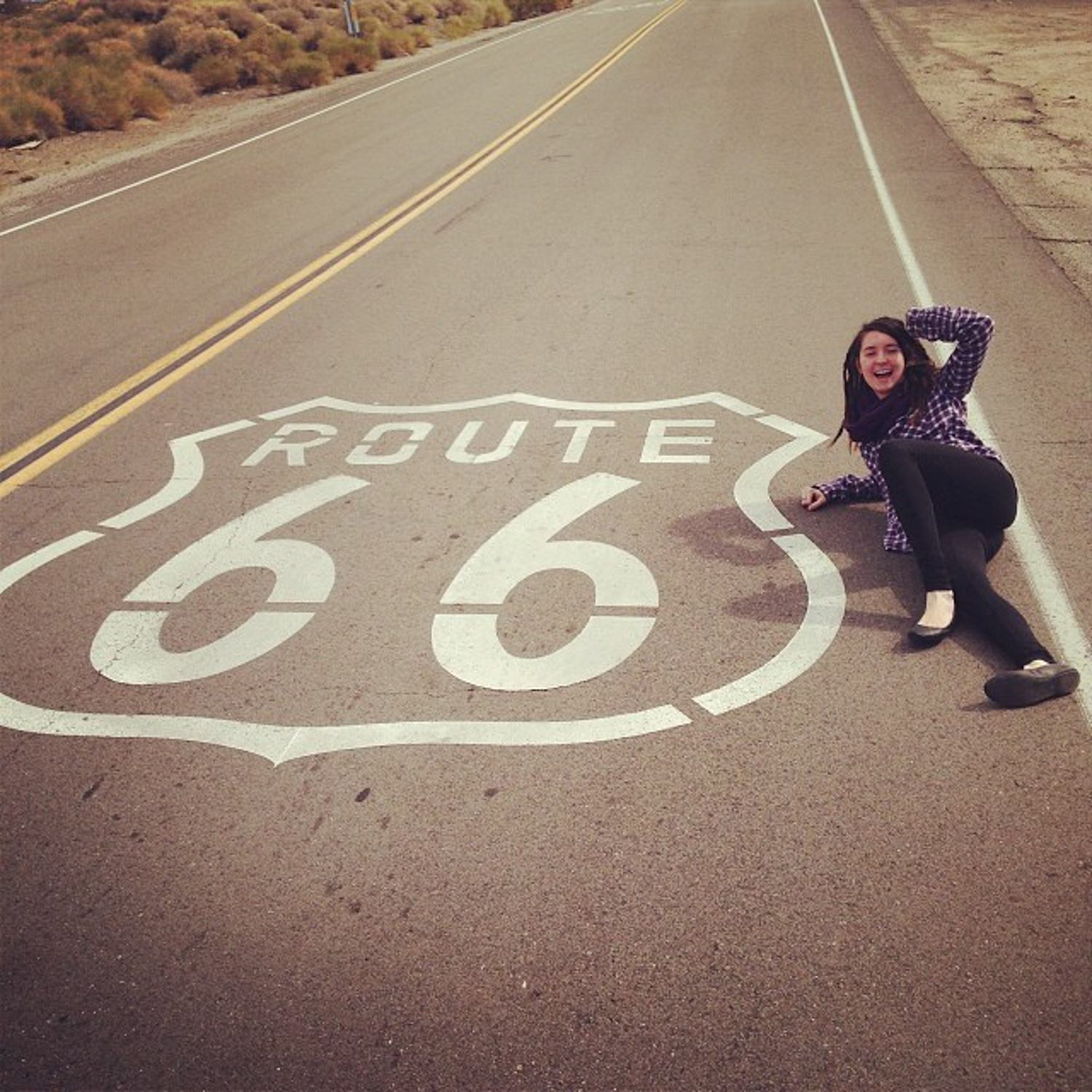 Posing on Route 66, USA.