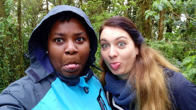 Steph (left) having fun in the cloud forest.