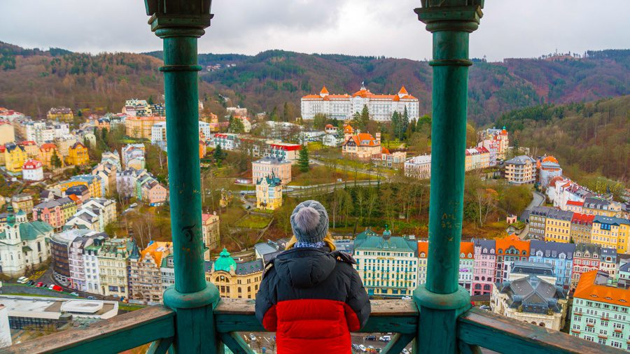 Looking out at Karlovy Vary, a small spa town in the Czech Republic.