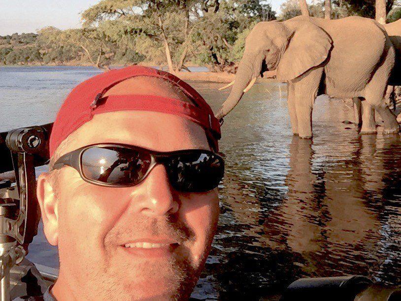 Yves in Botswana with elephants.